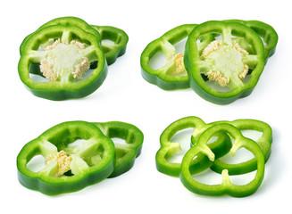 Sliced green pepper isolated on white