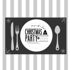 Christmas party card dinner concept  black and white