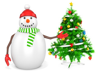 3d snowman with a christmas tree