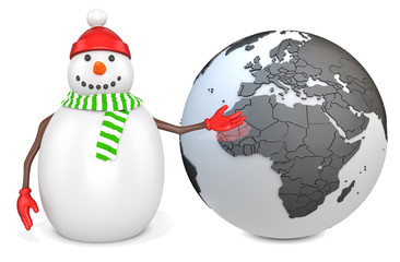 3d snowman with earth globe