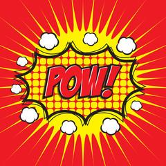 POW! comic wording design for comic background, comic strip