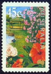 stamp printed by Australia, shows flowers in the garden