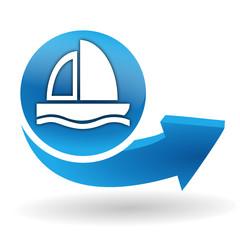 bateau voilier sur bouton web bleu