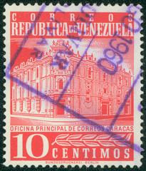 stamp printed in Venezuela shows Postoffice in Caracas
