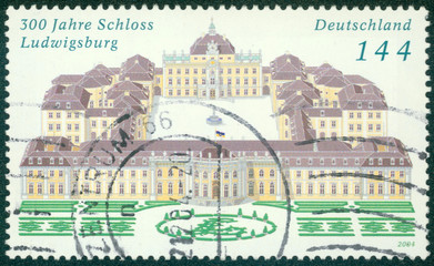 stamp printed in Germany shows Ludwigsburg Palace