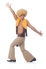 Man dancing isolated on the white background