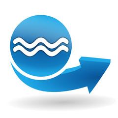 risque d'inondation sur bouton web bleu