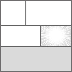 Comics pop art style blank layout template with dots pattern