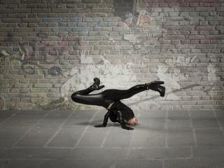 break dance for an elastic woman