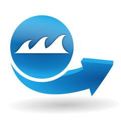 vagues sur bouton web bleu