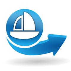 voilier sur bouton web bleu
