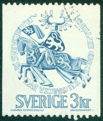stamp printed in Sweden, shows the Seal of Duke Erik Magnusson
