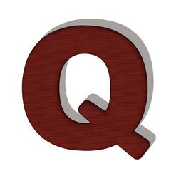 Q lettera lana maglione 3d in tessuto, isolata su sfondo bianco