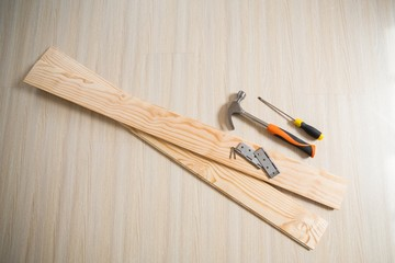 Overhead of planks and tools