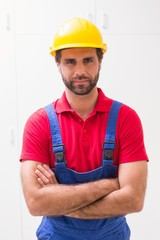 Construction worker looking at camera