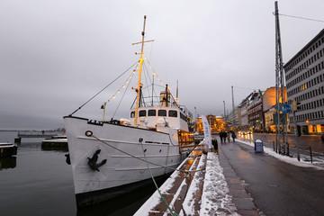 Ship moored in Helsinki in winter