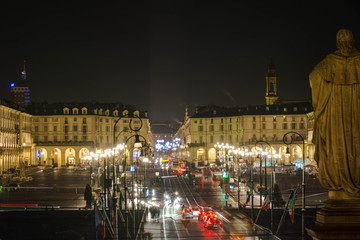 Vittorio Square and Po Street in Turin by night