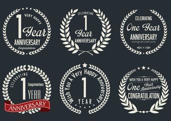 Anniversary laurel wreath design, 1 year