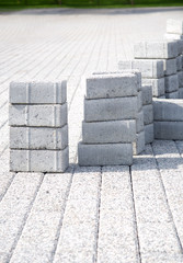 Paving slabs of gray in the town's pedestrian zone