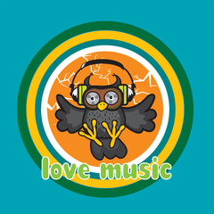 owl with headphones.love music illustration