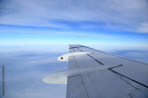 canvas print picture View of airplanes wing from the window, aerial photography