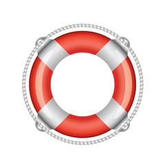 Red lifebuoy with white stripes (isolated)