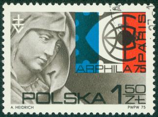 stamp shows St. Anne, by Veit Stoss, Arphila Emblem