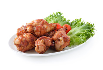 Fried Chicken and salad on white background
