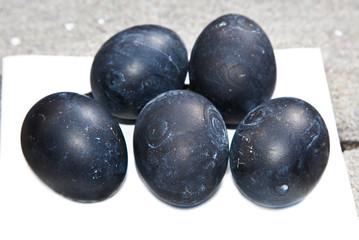 Five black boiled eggs in Hakone, Japan.