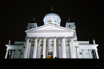 Night view of the Helsinki Cathedral