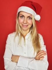 Frau mit Mütze zu Weihnachten