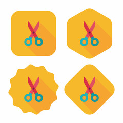 Scissors flat icon with long shadow,eps10