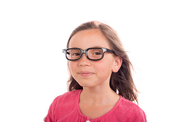 a young Schoolgirl with black glasses,