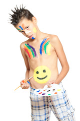 boy painting with colors isolated on white