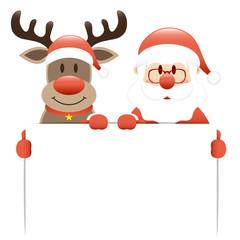 Rudolph & Santa Holding Label Light Red