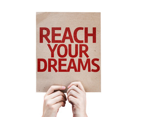 Reach Your Dreams card isolated on white background