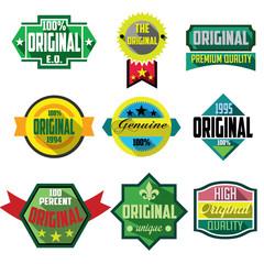 Original logo badges and labels