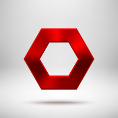 Red Abstract polygon Button Template