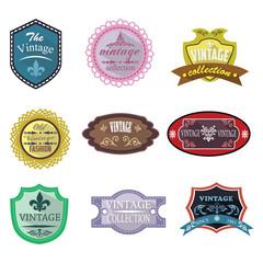 Vintage logo badges and labels