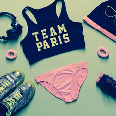 fitness glamorous style. Sports Accessory Set on green backgroun