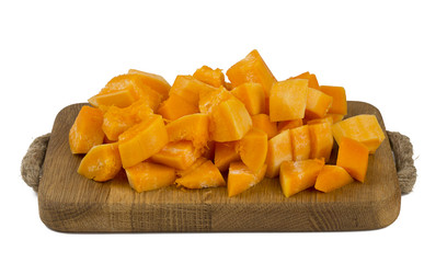 pieces of pumpkin on a cutting board