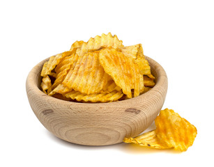 potato chips in a wooden bowl