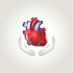 Human heart health care symbol