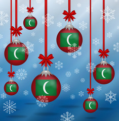 Christmas background flags Maldives