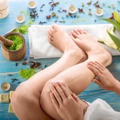 Woman taking spa procedures