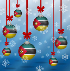 Christmas background flags Mozambique