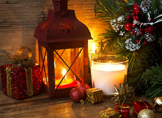 Magic Christmas Lantern with Candles and Decorations