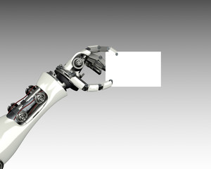 robot arm holding card template with clipping mask