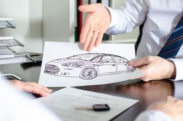 Dealer showing a car design
