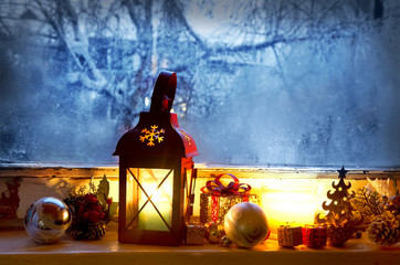 Warm Lantern on Frozen Window,Winter Magic with Christmas Decora